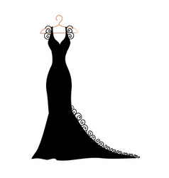 silhouette of a dress with flowers and lace vector image