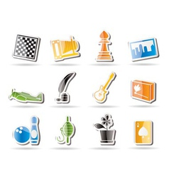 simple hobby and holiday icons vector image