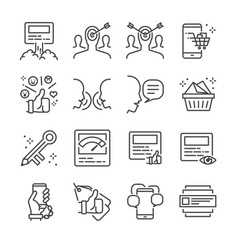 Social marketing line icon set vector