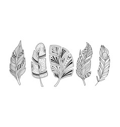 stylized feathers set black and white tribal vector image