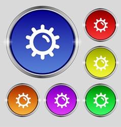 Sun icon sign Round symbol on bright colourful vector