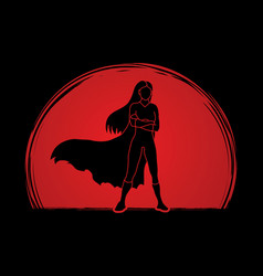 Super hero woman standing arms across chest vector