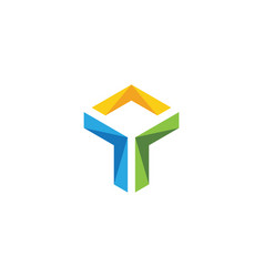 t logo hexagon icon vector image