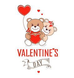 teddy bears with hearts vector image