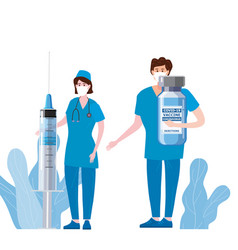 time to vaccination for immunity health doctor vector image