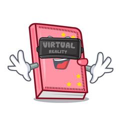 Virtual reality diary mascot cartoon style vector