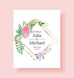 wedding invitation frame set flowers leaves vector image