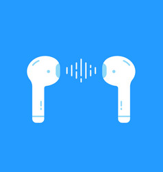 wireless earbuds isolated on blue vector image