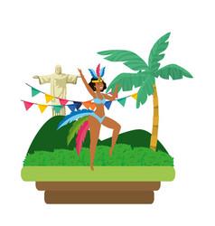 woman celebrating brazil carnival vector image