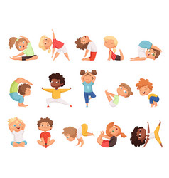 Yoga kids children making exercises in different vector