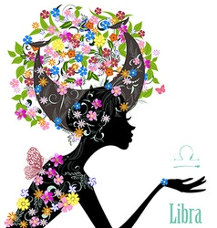 Zodiac sign libra fashion girl vector image