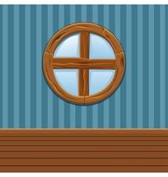 Cartoon Wooden round window Home Interior vector image vector image