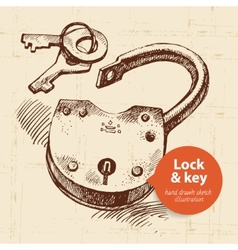Hand drawn sketch vintage lock and key banner vector image