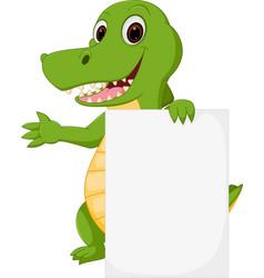 happy crocodile cartoon with sign vector image vector image