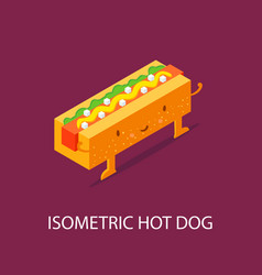 hot dog on plate isometric isometric 3d flat vector image vector image