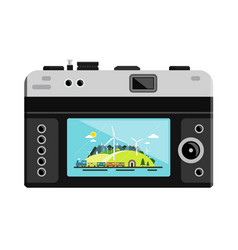 retro digital photo camera with landscape on vector image vector image