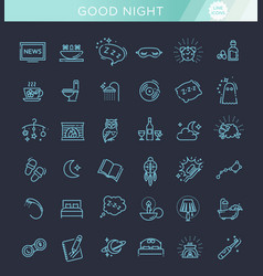simple set of sleep related line icons vector image vector image