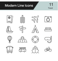 travel icons modern line design set 11 vector image