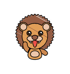 draw lion animal comic vector image