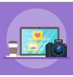 laptop coffee camera vector image