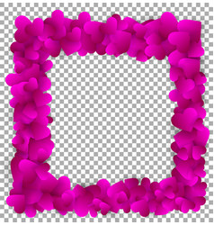 love frame made of cute purple paper hearts vector image