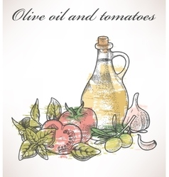 Olive oil and tomatoes vector image