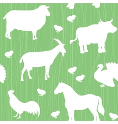 Seamless pattern with farm animals silhouettes vector image