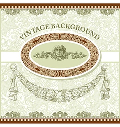 Vintage template with floral background vector image