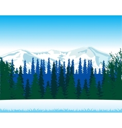 Winter landscape with wood and mountain vector image vector image