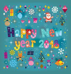 happy new year 2018 retro greeting card vector image vector image