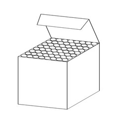 line drawing of chalk box -simple line vector image