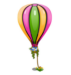 striped hot air balloon with basket of flowers vector image