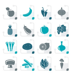 stylized different kind of fruit and vegetables vector image