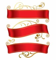 three red banners vector image vector image