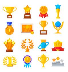 award trophy icon set vector image vector image