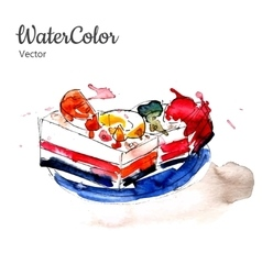 hand painting watercolor dessert Eps10 vector image