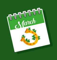 march calendar gold horseshoe clover st patricks vector image