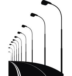 night urban street bridge vector image