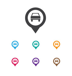 Of car symbol on location icon vector