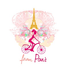young girl with bicycle in Paris vector image vector image