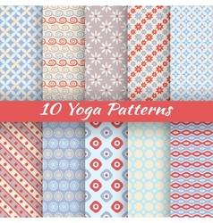 10 Yoga seamless patterns tiling vector
