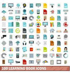 100 learning book icons set flat style vector image vector image