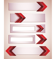 3d banners finished with red arrows vector