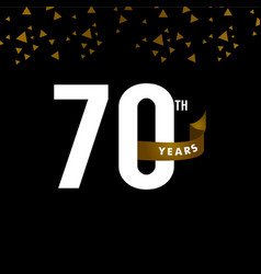 70 years anniversary number with gold ribbon vector