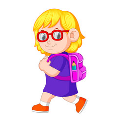 A schoolgirl with backpacks walking vector