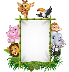 African animal with blank sign with nature concept vector