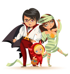 all hallows eve family party flat poster vector image