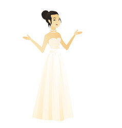 asian confused fiancee with spread arms vector image
