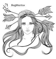 Astrological sign of Sagittarius as a lovely girl vector image