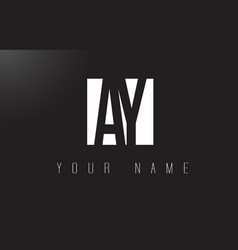 Ay letter logo with black and white negative vector